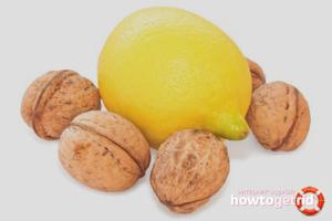 Лимон и грецкие орехи